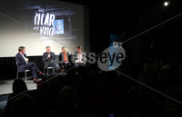 Press Eye - Belfast -  Northern Ireland - 11th April 2018 - Photo by William Cherry/Presseye. The gala premiere of Brendan J. Byrne's new film inspired by Colin Davidson's Silent Testimony exhibition, was held at the QFT Belfast this evening. Pictured during the Q&A are left to right Mark Carruthers, Colin Davidson, Sandra Peake and Brendan J. Byrne.