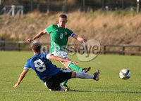 PressEye-Northern Ireland- 19th August  2019-Picture by Brian Little/PressEye. Northern Ireland U16  Jamie McDonnell scores a goal against  Estonia U16   during Monday evening\'s challenge match at Breda Park (Knockbreda FC).. Picture by Brian Little/PressEye .
