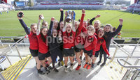 Press Eye Belfast - Northern Ireland 14th March 2019. Danske Bank Ulster Schools Girls X7s Senior Cup Final. Enniskillen Royal Grammar School(in red) vs Loreto Secondary School Letterkenny.. Enniskillen lift the cup after winning the final. . Picture by Jonathan Porter/PressEye.com