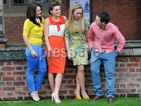 Presseye Ltd Northern Ireland 15th Feb 2012. Mandatory Credit - Photograph by Declan Roughan / Presseye. QUB Students Charity Fund Raising Fashion Show Launch - 15 Feb 2012. (L-R) Emma O\'Kane, Sinead Mc Nally, Emma Sproule and Gilbert Rice