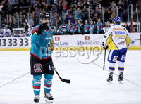 Press Eye - Belfast -  Northern Ireland - 09th February 2018 - Photo by William Cherry/Presseye. Belfast Giants Jonathan Ferland celebrates scoring against Fife Flyers during Friday nights Elite Ice Hockey League game at the SSE Arena, Belfast.