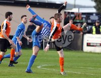 Danske Bank Premiership Play Off Loughshore Hotel Arena, Carrickfergus. Wednesday 9 May 2018. Carrick Rangers FC vs Newry City FC. Dara Noonan for Newry and Darren Henderson for Carrick. Mandatory Credit ©INPHO/Freddie Parkinson