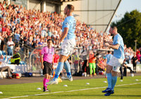 Europa League Preliminary Qualifying Round First Leg, Ballymena Showgrounds, Co. Antrim 27/6/2019. Ballymena United vs NSI Runavik. Ballymena\'s Leroy Millar(left) celebrates with his teammates after he scores to make it 1-0. . Mandatory Credit INPHO/Jonathan Porter