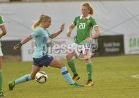 Press Eye - Belfast - Northern Ireland - 8th June. World Cup qualifier - Northern Ireland  v Netherlands at Shamrock Park Portadown.. Northern Irelands Caragh Milligan in action with Netherlands Jackie Groenen. Mandatory Credit: Presseye/Stephen Hamilton