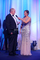 Press Eye - Belfast - Northern Ireland - 6th February 2017 -  . Belfast Telegraph Sports Awards 2016.. Award 2 - Young Player of the Year . Golfer Olivia Mehaffey won the Young Player of the Year, sponsored by Decathlon Belfast. It was presented to her father Philip by Richard Larmour, Marketing and Events Manager from Decathlon and Paralympians Jason Smyth and Michael McKillop.. Philip Mehaffey with Claire McCollum. Photo by Kelvin Boyes / Press Eye..