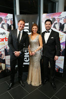 Press Eye - Belfast - Northern Ireland - 6th February 2017 -  . Belfast Telegraph Sports Awards 2016.. Jim Conlon, Claire McCollum and Craig Doyle pictured at the Belfast Telegraph Sports Awards 2016 in the Waterfront Hall.. Photo by Kelvin Boyes / Press Eye..