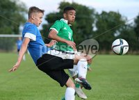 PressEye-Northern Ireland- 19th August  2019-Picture by Brian Little/PressEye. Northern Ireland U16  Brodie Spencer  and Estonia U16 Andreas Vaher  during Monday evening\'s challenge match at Breda Park (Knockbreda FC).. Picture by Brian Little/PressEye .