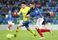 Danske Bank Premiership, Windsor Park, Belfast 10/2/2018. Linfield vs Dungannon Swifts. Linfield\'s Mark Stafford in action with Kris Lowe of Dungannon. Mandatory Credit ©INPHO/Declan Roughan