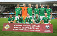 PressEye-Northern Ireland- 9th September  2019-Picture by Brian Little/PressEye. Northern Ireland team against  Germany     during Monday\'s  European Championship Qualifying Group C match  at the National  Football Stadium at Windsor Park,Belfast.. Picture by Brian Little/PressEye .