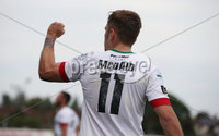 Danske Bank Premiership, Showgrounds, Ballymena  24/8/2019. Ballymena United  vs Glentoran FC . Glentoran Robbie McDaid celebrates his equaliser against Ballymena United. Mandatory Credit  INPHO/Brian Little