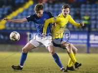 Tennants Irish Cup at Mourneview in Lurgan.  11.02.2019. Glenavon v Dungannon. Glenavon\'s Caolan Marron with Dungannon\'s Paul McElroy. Mandatory CreditINPHO/PressEye.com/Jonathan Porter.