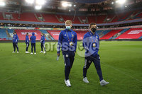 Press Eye - Belfast, Northern Ireland - 13th October 2020 - Photo by William Cherry/Presseye. Northern Ireland\'s Ali McCann and Joel Cooper during Tuesday nights walk around the Ullevaal Stadium pitch at ahead of Wednesdays UEFA Nations League game against Norway in Oslo. Photo by William Cherry/Presseye