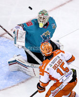 Press Eye - Belfast, Northern Ireland - 06th December 2019 - Photo by William Cherry/Presseye. Belfast Giants\' Shane Owen with Sheffield Steelers\' Anthony DeLuca during Friday nights Elite Ice Hockey League game at the SSE Arena, Belfast.       Photo by William Cherry/Presseye
