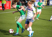 Press Eye - Belfast - Northern Ireland - 8th October 2019. European Women\'s U19 Championship 2020 Qualifying Round -  Northern Ireland Vs Norway, Seaview. Northern Ireland\'s Caitlin McGuiness with Norway\'s  Marthine Ostenstad.. Picture by Jonathan Porter/PressEye