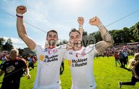 Ulster GAA Senior Football Championship Final, St Tiernach\'s Park, Clones, Co. Monaghan 16/7/2017. Down vs Tyrone. Tyrone\'s Ronan McNamee and Cathal McCarron celebrate the final whistle. Mandatory Credit ©INPHO/Morgan Treacy