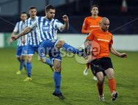 Mandatory Credit - Picture by Freddie Parkinson/Press Eye ©. Saturday 21st November 2015. NIFL Premiership. The Showgrounds, Coleraine.. Coleraine FC vs. Carrick Rangers FC. Coleraine\'s James McLaughlin and Carrick\'s Barry Johnston