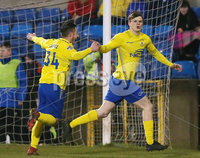 Tennants Irish Cup at Mourneview in Lurgan.  11.02.2019. Glenavon v Dungannon. Dungannon\'s Paul McElroy(right) celebrates after scoring a penalty to make it 0-1. . Mandatory CreditINPHO/PressEye.com/Jonathan Porter.