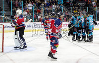 Press Eye - Belfast -  Northern Ireland - 14th September 2018 - Photo by William Cherry/Presseye. Belfast Giants\' Colin Shields celebrates scoring against the Dundee Stars\' Craig Holland during Friday nights Challenge Cup game at the SSE Arena, Belfast.       Photo by William Cherry/Presseye