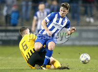 Tennent\'s Irish Cup Round 5, The Showgrounds, Co. Londonderry 5/1/2019. Coleraine vs H&W Welders. Coleraine\'s Ben Doherty in action with H&W Welders Ryan Deans. Mandatory Credit INPHO/Matt Mackey