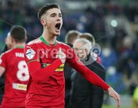 Tennent\'s Irish Cup Quarter-Final, Windsor Park, Belfast 13/3/2018 . Linfield vs Cliftonville. Cliftonville\'s Jay Donnelly celebrates after the game. Mandatory Credit ©INPHO/Jonathan Porter