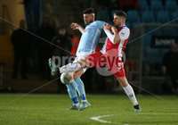 Danske Bank Premiership, Showgrounds, Ballymena. 14/2/2020. Ballymena United  vs Linfield FC. Ballymena United\'s Joseph McCready  and Mark Haughey  of Linfield.. Mandatory Credit  INPHO/Brian Little