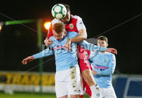 Tenants Country Antrim Shield Semi Final at Ballymena Showgrounds.  08.01.2019. Ballymena United v Linfield FC. Ballymena\'s Matthew Shevlin with Linfield\'s  Josh Robinson.. Mandatory CreditINPHO/PressEye.com/Jonathan Porter.