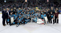 Press Eye - Belfast -  Northern Ireland - 06th April 2019 - Photo by William Cherry/Presseye. Belfast Giants pictured with the Elite Ice Hockey League trophy after being crowned Champions at the SSE Arena, Belfast.       Photo by William Cherry/Presseye
