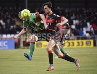 Danske Bank Premiership, Seaview Belfast.. Co Antrim 02/12/17. Crusaders v Glentoran. Mandatory Credit ©INPHO/Stephen Hamilton. Crusaders Declan Caddell  in action with Glentorans Calum Birney.