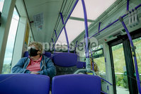 Press Eye - Belfast - Northern Ireland - 29th June 2020. Members of the public wearing face-masks on the Glider G1 bus service in Belfast. The Northern Ireland Executive have discussed the mandatory wearing of face coverings on public transport. . Photo by Philip Magowan / Press Eye