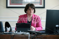 Press Eye - Belfast - 14th October 2020 - . First Minister Arlene Foster pictured working in her office at Parliament Buildings, Stormont this afternoon following the announcement of new restrictions being imposed by the Northern Ireland Executive. Photo by Kelvin Boyes / Press Eye. .
