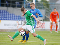 Press Eye Belfast - Northern Ireland 7th September 2018. U19 International Challenge Match - Northern Ireland Vs Slovakia at The Showgrounds, Newry.. Northern Ireland\'s Sean Grahamwith Slovakia\'s Jakub Svec . Picture by Jonathan Porter/PressEye.com