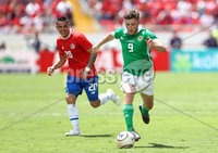 Press Eye - Belfast -  Northern Ireland - 03rd June 2018 - Photo by William Cherry/Presseye. Costa Rica\'s David Guzman with Northern Ireland\'s Shay McCartan during Sunday mornings International Friendly at the Nuevo Estadio Nacional de Costa Rica in San Jose.   Photo by William Cherry/Presseye