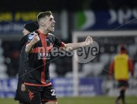 Danske Bank Premiership, Seaview Belfast.. Co Antrim 02/12/17. Crusaders v Glentoran. Mandatory Credit ©INPHO/Stephen Hamilton. Crusaders Gavin Whyte celebrates at the end of todays game.