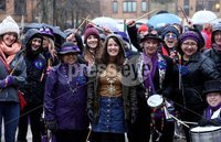 Press Eye - Belfast - Northern Ireland - 10th March 2018 . Lord Mayor Nuala McAllister along with band members . International Womens Day march in Belfast . the annual rally makes its way through the city to the city hall.. Mandatory Credit ©Matt Mackey / Presseye.com