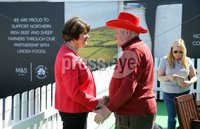 Press Eye - Belfast - Northern Ireland - 17th May 2018  . DUP leader Arlene Foster pictured at the Balmoral Show event this afternoon.. Second day of the 2018 Balmoral Show, in partnership with Ulster Bank, at Balmoral Park.  Horse showing as the 150th anniversary Balmoral Show continues. . . Photo by Kelvin Boyes / Press Eye .