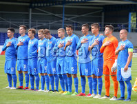 Press Eye Belfast - Northern Ireland 7th September 2018. U19 International Challenge Match - Northern Ireland Vs Slovakia at The Showgrounds, Newry.. Slovakia  line out at the start of the match. . Picture by Jonathan Porter/PressEye.com