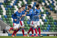 Danske Bank Premiership, National Football Stadium at Windsor Park, Belfast, Northern Ireland 17/10/2020. Linfield vs Carrick Rangers. Linfields Jimmy Callagher celebrates scoring a goal. Mandatory Credit INPHO/Declan Roughan