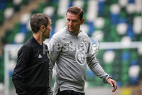Press Eye - Belfast, Northern Ireland - 01st September 2020 - Photo by William Cherry/Presseye. Northern Ireland manager Ian Baraclough and former Northern Ireland international Damien Johnson during Tuesday mornings training session at the National Stadium at Windsor Park, Belfast ahead of Friday nights Nations League game in Romania.    Photo by William Cherry/Presseye
