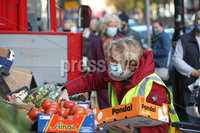 Press Eye - Belfast - Northern Ireland - 10th October 2020. Get Fresh a local supplier of fruit and vegetables is giving away their stock due to the new coronavirus restrictions that are due to come into force on Friday evening.. Picture by Matt Mackey / Presseye.