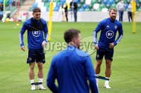 Press Eye - Belfast, Northern Ireland - 01st September 2020 - Photo by William Cherry/Presseye. Northern Ireland\'s Jordan Thompson and Niall McGinn during Tuesday mornings training session at the National Stadium at Windsor Park, Belfast ahead of Friday nights Nations League game in Romania.    Photo by William Cherry/Presseye
