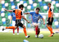 Press Eye - Belfast -  Northern Ireland - 12th August 2017 - Photo by William Cherry/Presseye. Linfield\'s Jordan Stewart with Carrick\'s Aaron Smyth during Saturdays Danske Bank Premiership game at the National Stadium at Windsor Park, Belfast.