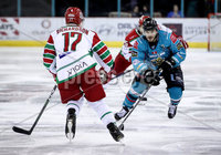 Press Eye - Belfast, Northern Ireland - 01st February 2020 - Photo by William Cherry/Presseye. Belfast Giants\' Liam Morgan with Cardiff Devils\' Mark Richardson during Sunday afternoons Elite Ice Hockey League game at the SSE Arena, Belfast.   Photo by William Cherry/Presseye