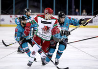 Press Eye - Belfast, Northern Ireland - 01st February 2020 - Photo by William Cherry/Presseye. Belfast Giants\' Brian Ward with Cardiff Devils\' Joey Haddad during Sunday afternoons Elite Ice Hockey League game at the SSE Arena, Belfast.   Photo by William Cherry/Presseye