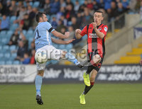 12th October 2019. Danske Bank Irish premiership. Ballymena v Crusaders at Warden Street.. Ballymena\'s Jim Ervin   in action with Crusaders Paul Heatley. Mandatory Credit -Inpho/Stephen Hamilton.