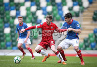 Danske Bank Premiership, Windsor Park, Belfast 9/2/2019. Linfield vs Coleraine. Linfield\'s Jimmy Callacher with Coleraine\'s Jamie McGonigle. Mandatory Credit INPHO/Matt Mackey