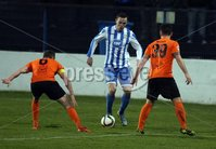 Mandatory Credit - Picture by Freddie Parkinson/Press Eye ©. Saturday 21st November 2015. NIFL Premiership. The Showgrounds, Coleraine.. Coleraine FC vs. Carrick Rangers FC. Coleraine\'s Darren McCauley and Carrick\'s Aaron Harmon.