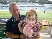 PressEye-Northern Ireland- 8th September  2018-Picture by Brian Little/ PressEye. Fans Stephen and Bella Reid aged 5 from Hillsborough  supporting Northern Ireland against Northern Ireland       and Bosnia and Herzegovina      during  Saturday\'s  UEFA Nations League match at the National Football Stadium at Windsor Park.. Picture by Brian Little/PressEye .