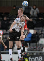12th December  2020. Danske Bank Irish premier league match between Crusaders and Portadown at Seaview Belfast. Crusaders Jordan Owens  in action with Portadowns  Paul Finnegan. Mandatory Credit   Inpho/Stephen Hamilton