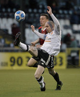 12th December  2020. Danske Bank Irish premier league match between Crusaders and Portadown at Seaview Belfast. Crusaders Paul Heatley  in action with Portadowns  Gregg Hall. Mandatory Credit   Inpho/Stephen Hamilton