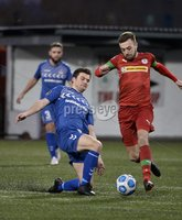 9th January 2021. Danske Bank Premiership, Solitude, Belfast . Cliftonville vs Crusaders. Cliftonville\'s Conor McMenamin   in action with Crusaders Philip Lowry. Mandatory Credit INPHO/Stephen Hamilton